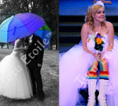 Wedding Skirt, 8 layers and Leah's Rainbow tights