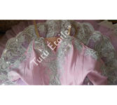 Pink Bodice with Bright Silver Lace